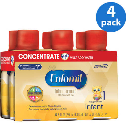 Enfamil Infant baby formula - Concentrated Liquid - 8 fl oz Plastic Bottles- 6ct, Pack of 4