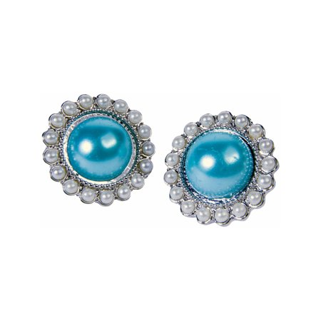 Womens Royal Queen Ornate Oval Teal Pearl Earrings Costume Accessory - Kate Middleton Halloween Costume