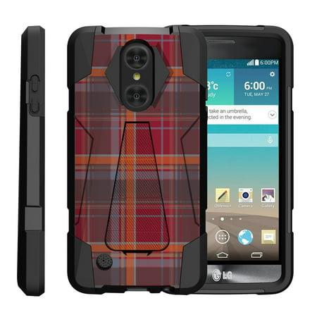 Maroon Phone - TurtleArmor ® | For LG LV3 | Aristo | K8 | Phoenix 3 M150 | Fortune M153 | Risio 2 | K4 | Rebel 2 [Dynamic Shell] Dual Layer Hybrid Silicone Hard Shell Kickstand Case - Maroon Plaid