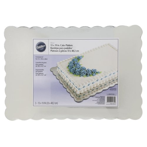 Cake Board Half-Size Sheet - 13-3//4 x 18-3//4 Rectangular Silver - Case of 12 1//4 Thick