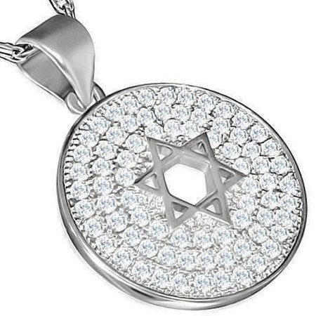 CLEARANCE - Star of David Pave Swiss CZ Diamonds Necklace white gold ()