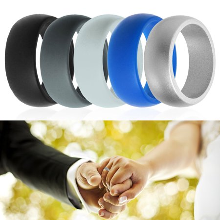 Silicone Rings, EEEKit 5 Sizes 5 Colors Men Women Silicone Wedding Ring Set Flexible Fitness Band for Wedding Anniversary Birthday Valentines - Rings For Valentine's Day