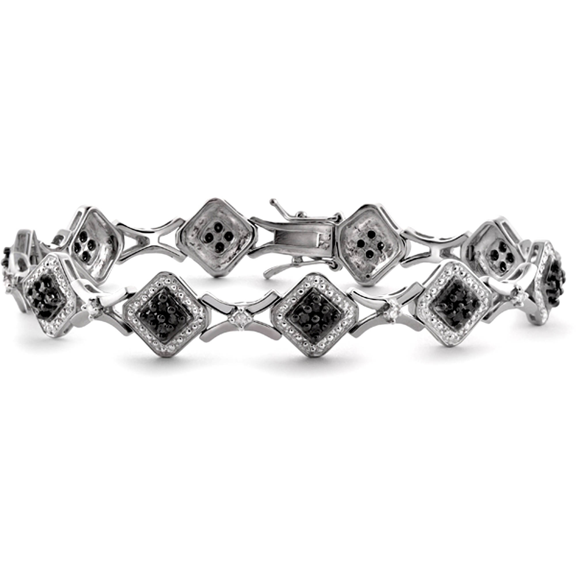 JewelersClub 1.00 Carat T.W. Black and White Diamond Sterling Silver Bracelet