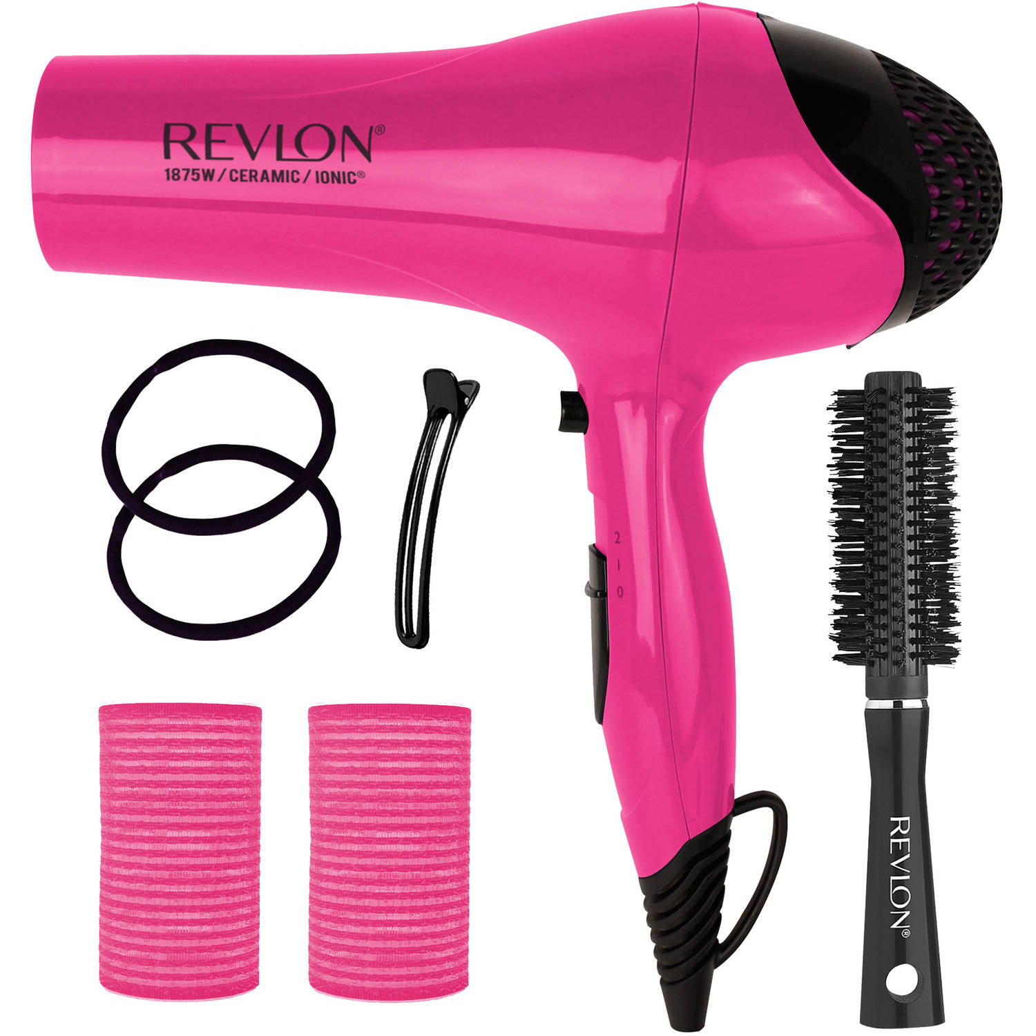 Revlon Ceramic Ionic Dryer Blowout Gift Set, Pink, 7 pc