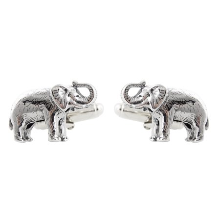 Men's Elephant Cuff Links - 925 Sterling Silver, 1 Pair (Sterling Silver Pittsburgh Steelers Cufflinks)