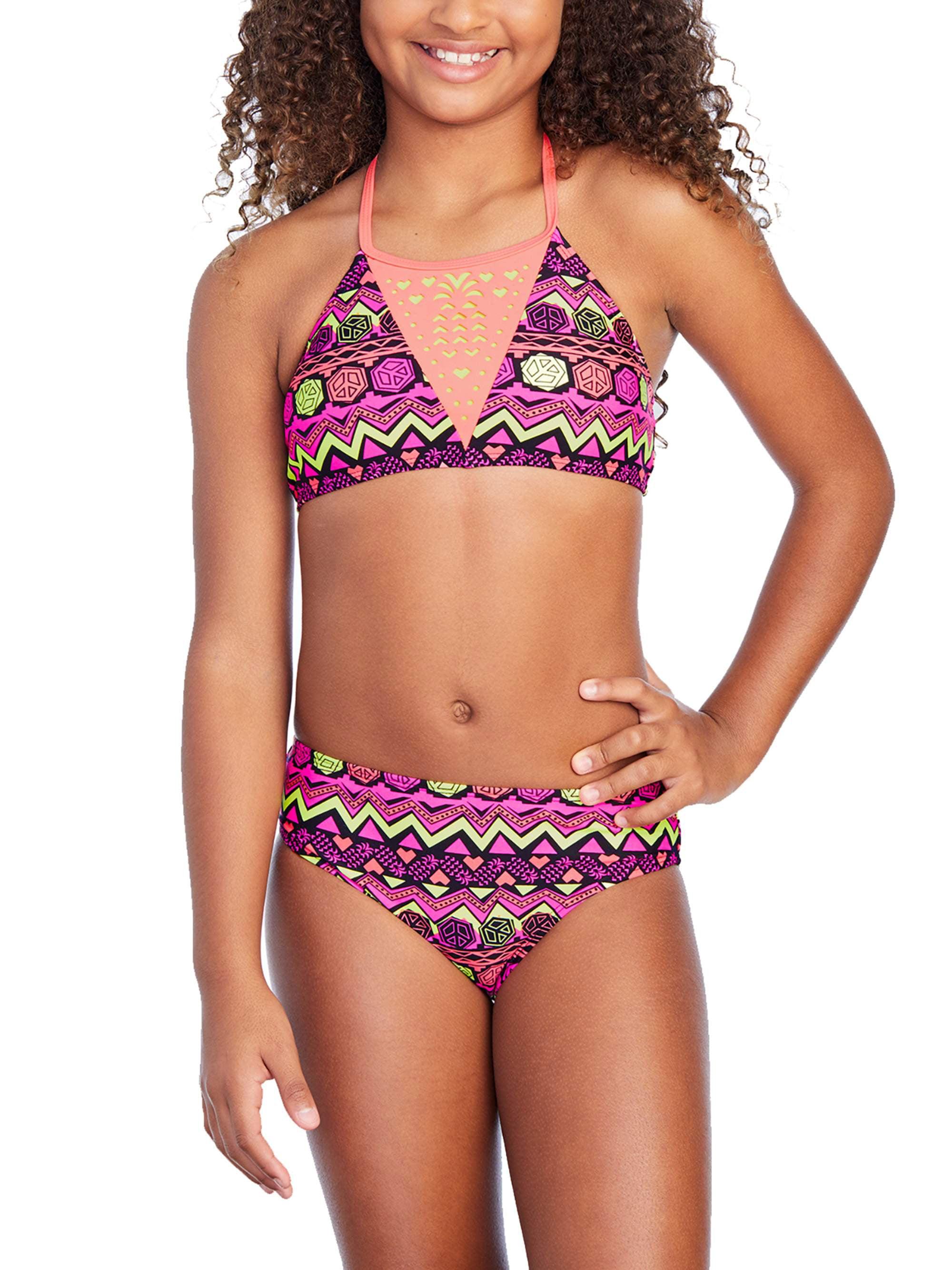 Girls' Coral Tribal Print Fashion Bikini