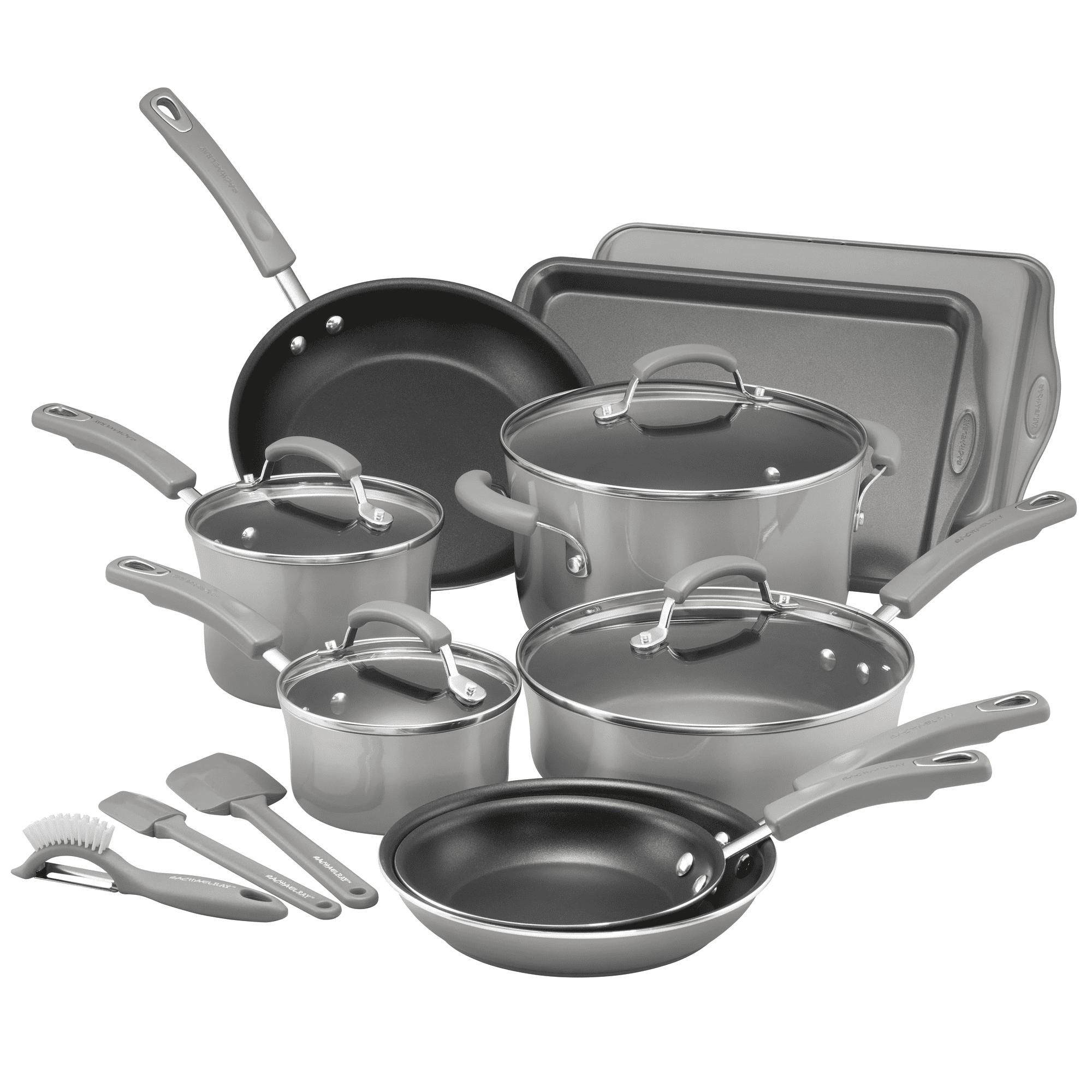 Rachael Rays 16pc Classic Brights Porcelain Enamel Nonstick Cookware Grey