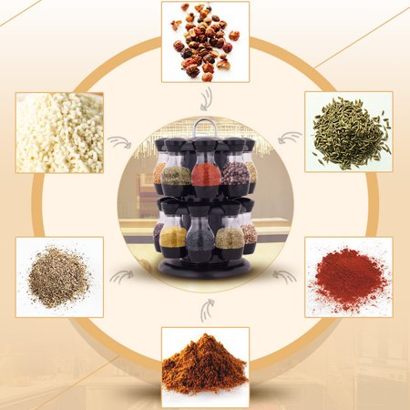 Jar Countertop (360 Rotating Spice Jar Rack Kitchen Countertop Display Organizer Spice Bottle  Holder Stand Shelf with 1 Layer 8 Spice Jars/2 Layers 16 Spice Jars)