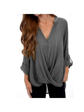 9140d4d068d Product Image Autumn Women Fashion Casual Long Sleeve V-neck Loose  Irregular Wide Pleat Front Cross Blouse