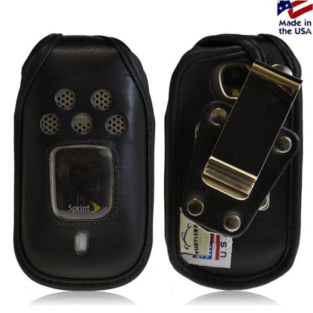 Usa Black Leather (Turtleback Fitted Case made for Kyocera DuraPro Phone Black Leather Rotating Removable Metal Belt Clip Made in USA )