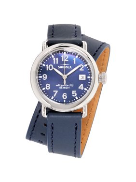 Shinola The Runwell Blue Dial Leather Strap Ladies Watch S0120109244