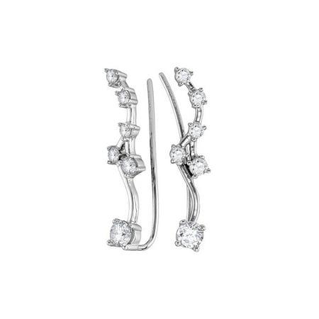 10kt White Gold Womens Round Diamond Climber Earrings 3/4 Cttw - image 1 de 1