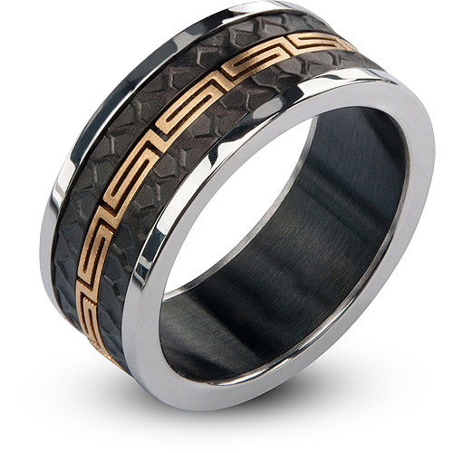 Steel Art Men's Stainless Steel IP Gold Narrow Greek Key in Black IP and Steel Matte and Polished Ring