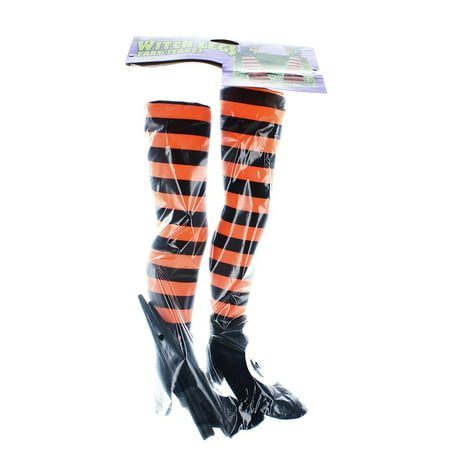 Witch Legs Yard Stakes Orange/Black Halloween Décor