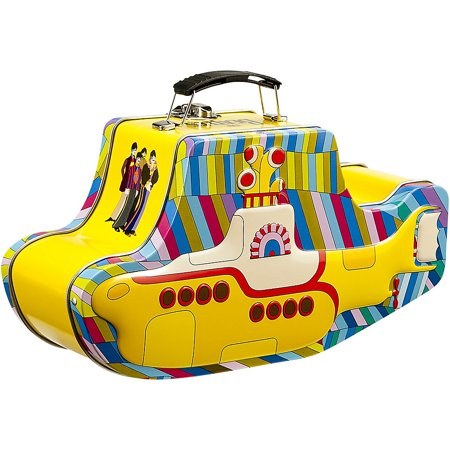 Vandor 64269 The Beatles Yellow Submarine Shaped Tin Tote with Embossing, Multicolored Multi-Colored