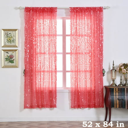 BalsaCircle 52 x 84-Inch Big Payette Sequin Curtains Drapes Panels Window Treatments - Home - Decoration Curtains