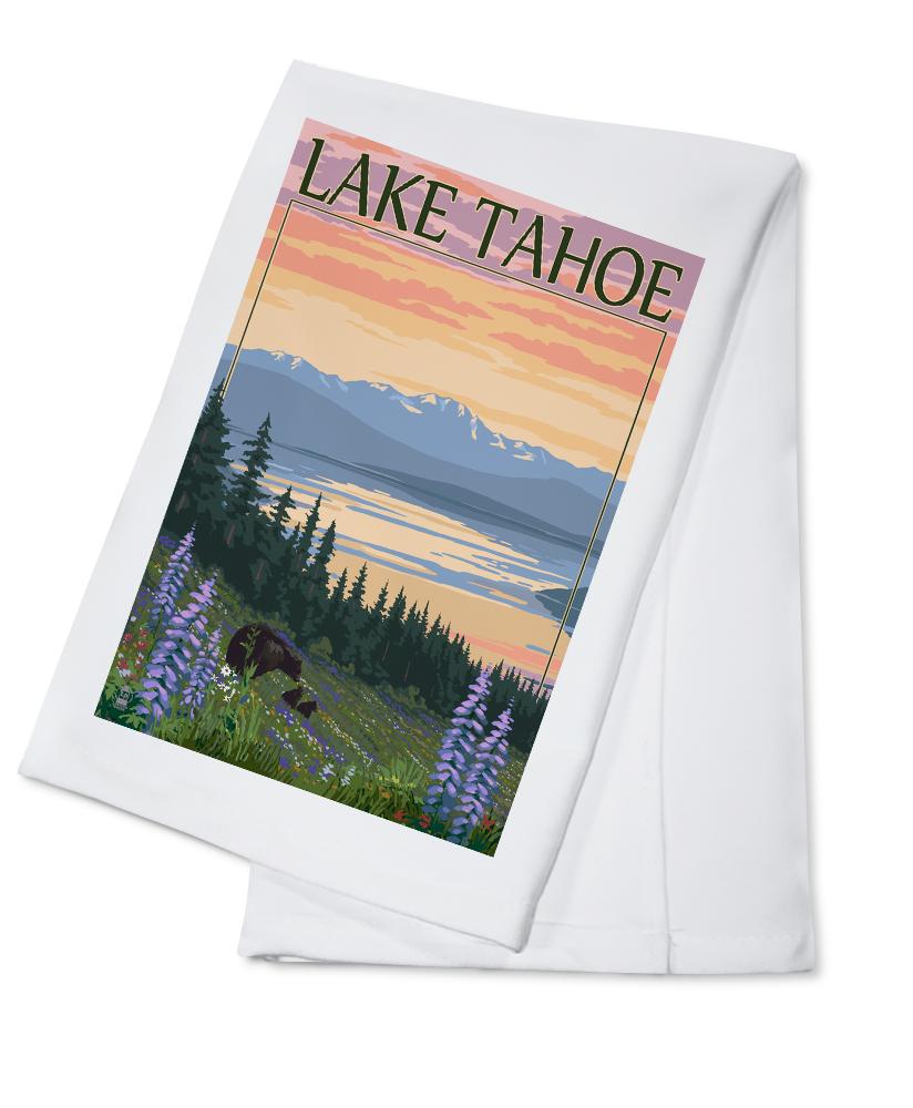 Lake Tahoe Bear and Cubs with Flowers Lantern Press Artwork (100% Cotton Kitchen Towel) by Lantern Press