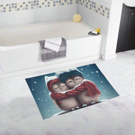CADecor Little Snow Owls Sitting Doormat Non Slip Bathroom/Floor Mats Bath Rug 30x18 inches