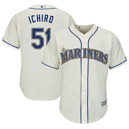 Ichiro Suzuki Frame - Ichiro Suzuki Seattle Mariners Majestic Official Cool Base Player Jersey - Cream