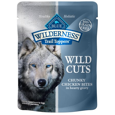 Blue Buffalo Wilderness Trail Toppers Wild Cuts High Protein Grain Free, Natural Wet Dog Food, Chunky Chicken Bites in Hearty Gravy, 3-oz pouch, Case of 24
