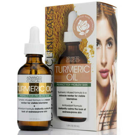 Advanced Clinicals Turmeric Oil for face. Antioxidant formula with Rose Extract and Jojoba oil for dry skin, redness, and skin blemishes.  Large 1.8oz glass bottle with dropper. (Large Oil Menorah)
