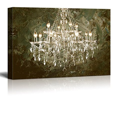 wall26 Canvas Wall Art - Crystal Clear Chandelier on Abstract Oil Painting Style Background - Giclee Print Gallery Wrap Modern Home Decor Ready to Hang - 24x36 inches