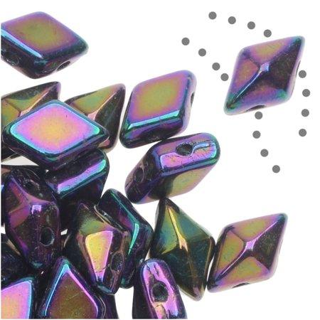 Czech Glass DiamonDuo, 2-Hole Diamond Shaped Beads 5x8mm, 12 Grams, Purple -