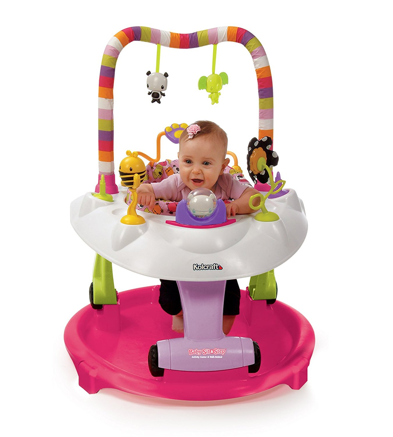 Kolcraft Baby Sit and Step 2-in-1 Activity Center, Pink Bear Hugs