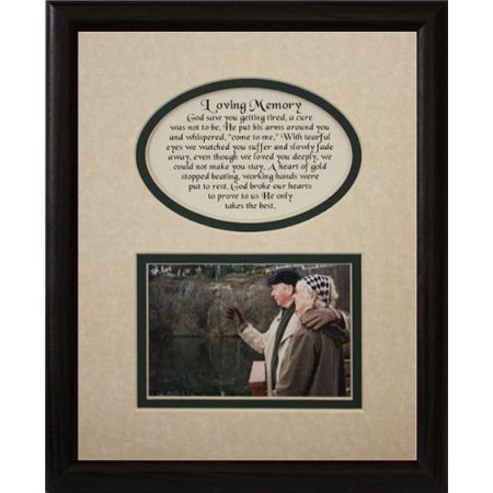 8X10 Loving Memory Picture & Poetry Photo Gift Frame ~ Cream/Hunter Green Mat With Black Frame * Memorial * Bereavement * Sympathy * Condolence Picture And Poetry Keepsake Gift Frame