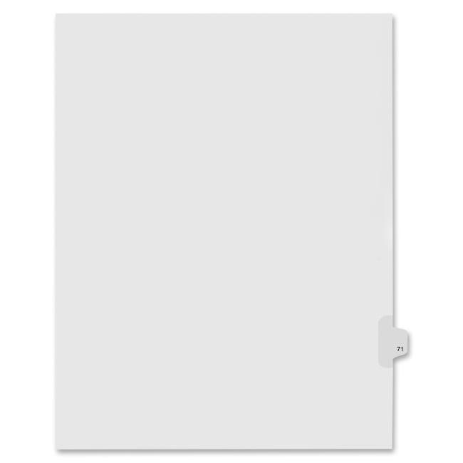 Index Dividers,Number 71,Side Tab,1/25 Cut,Letter,25/PK,WE KLF91071