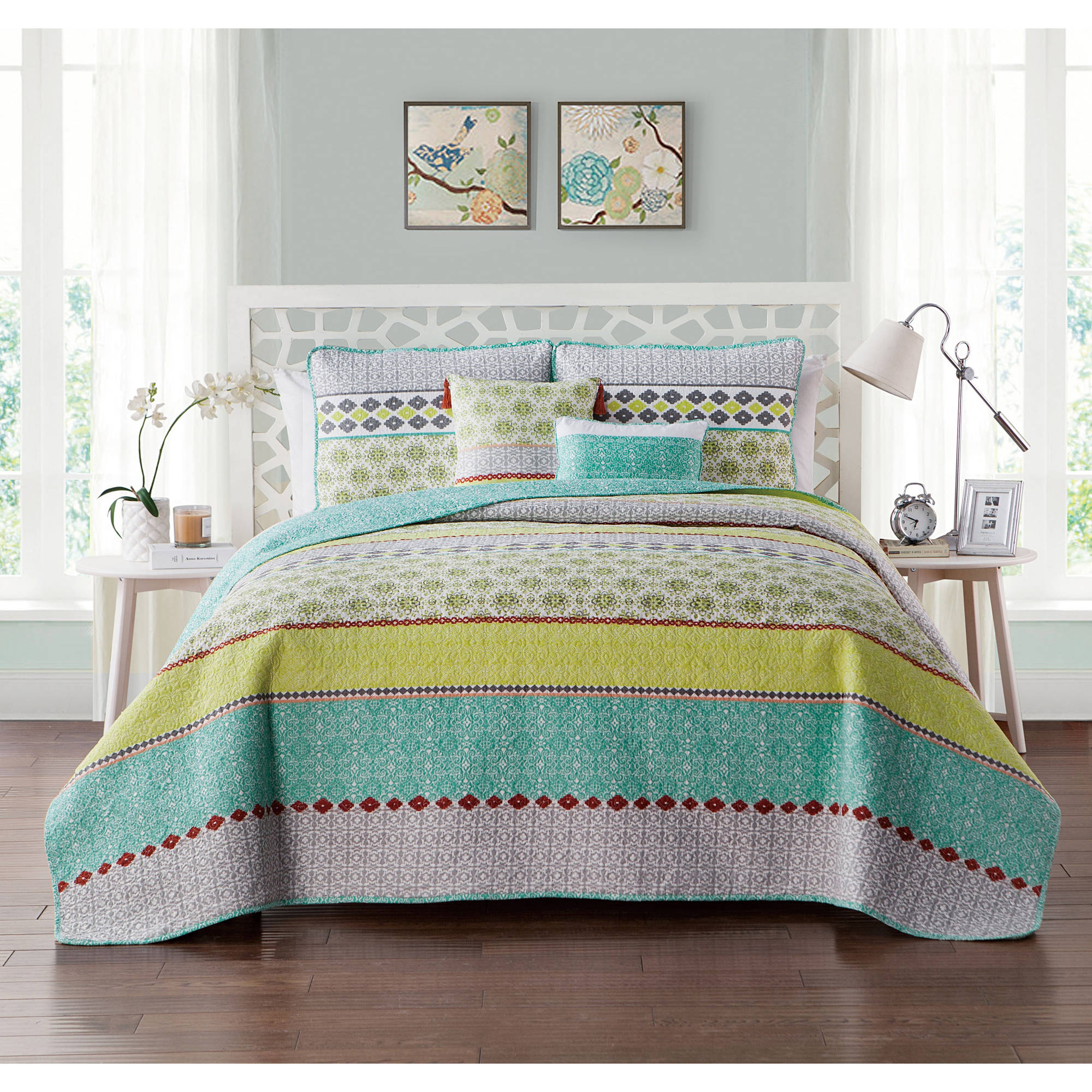 VCNY Home Multi-Color Geometric Printed 4/5 Piece Dharma Embellished Reversible Bedding Quilt Set, Decorative Pillows and Shams Included