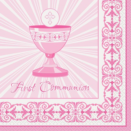 Radiant Cross First Communion Party Napkins, 6.5 in, Pink, 16ct
