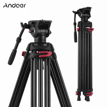 Andoer XTK-8018 Professional Photography Tripod Stand Aluminium Alloy with 360° Panorama Fluid Hydraulic Bowl Head 180cm for Canon Nikon Sony DSLR Cameras