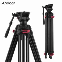 Andoer XTK-8018 Professional Photography Tripod Stand Aluminium Alloy with 360° Panorama Fluid Hydraulic Bowl Head 180cm for Canon Nikon Sony DSLR Cameras Camcorders