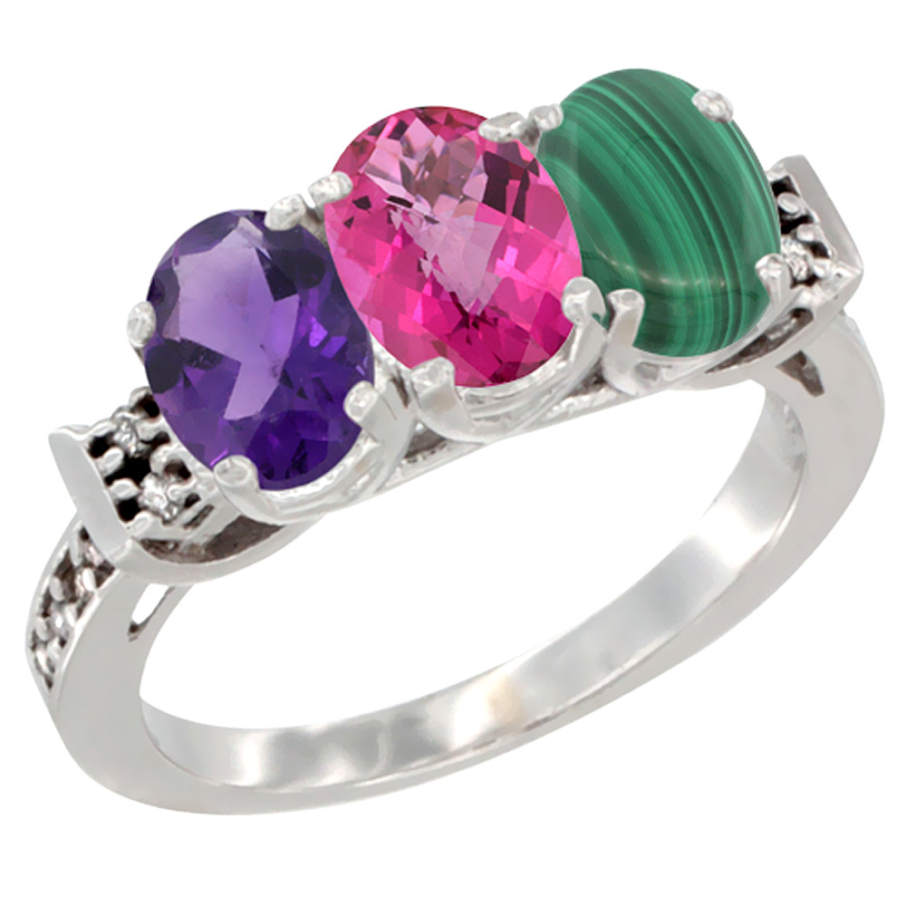 10K White Gold Natural Amethyst, Pink Topaz & Malachite Ring 3-Stone Oval 7x5 mm Diamond Accent, sizes 5 10 by WorldJewels