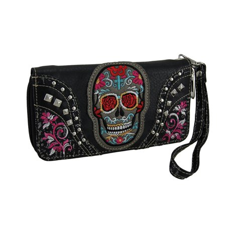 Zeckos - Embroidered Sugar Skull Floral Trim Wallet w/Removable Wrist Strap - Black