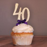 """40th Birthday Party Decor. Ships in 1-3 Business Days. Glitter Gold Number """"40"""" Cupcake Toppers with Plum Bow 12CT."""