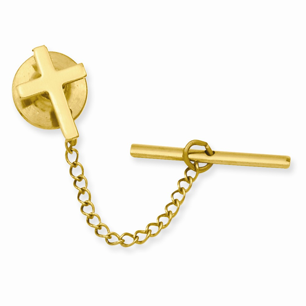 Gold-plated Small Plain Cross Tie Tack. Lovely Leatherrete Gift Box Included