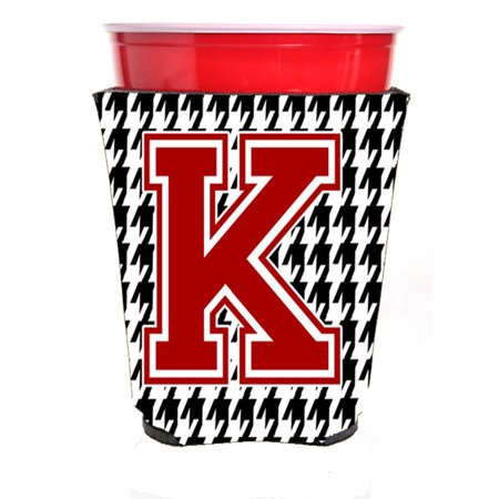 Monogram - Houndstooth  Initial  K Red Solo Cup Beverage Insulator Hugger CJ1021K-RSC - Monogrammed Koozies