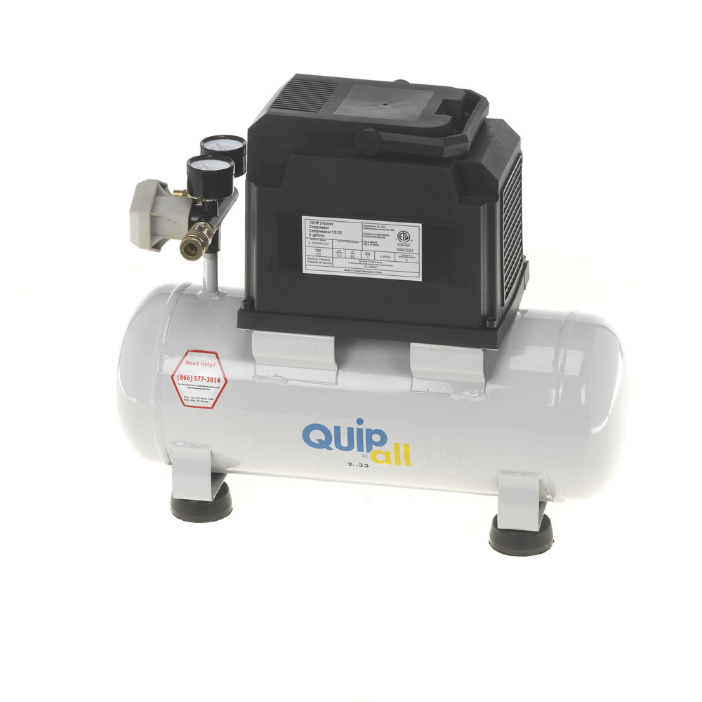 Quipall 2-.33 1/3 HP 2加仑无油热门空气压缩机