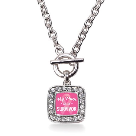 Mom Toggle Necklace (My Mom is a Survivor Breast Cancer Awareness Classic Charm Toggle)