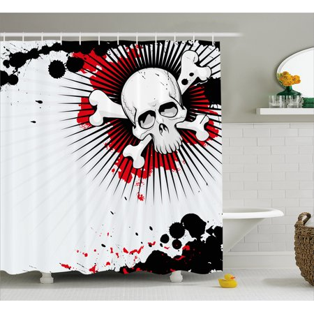 Halloween Shower Curtain, Skull with Crossed Bones over Grunge Background Evil Scary Horror Graphic, Fabric Bathroom Set with Hooks, 69W X 75L Inches Long, Pearl Red Black, by - Halloween Shower Curtains Kohls