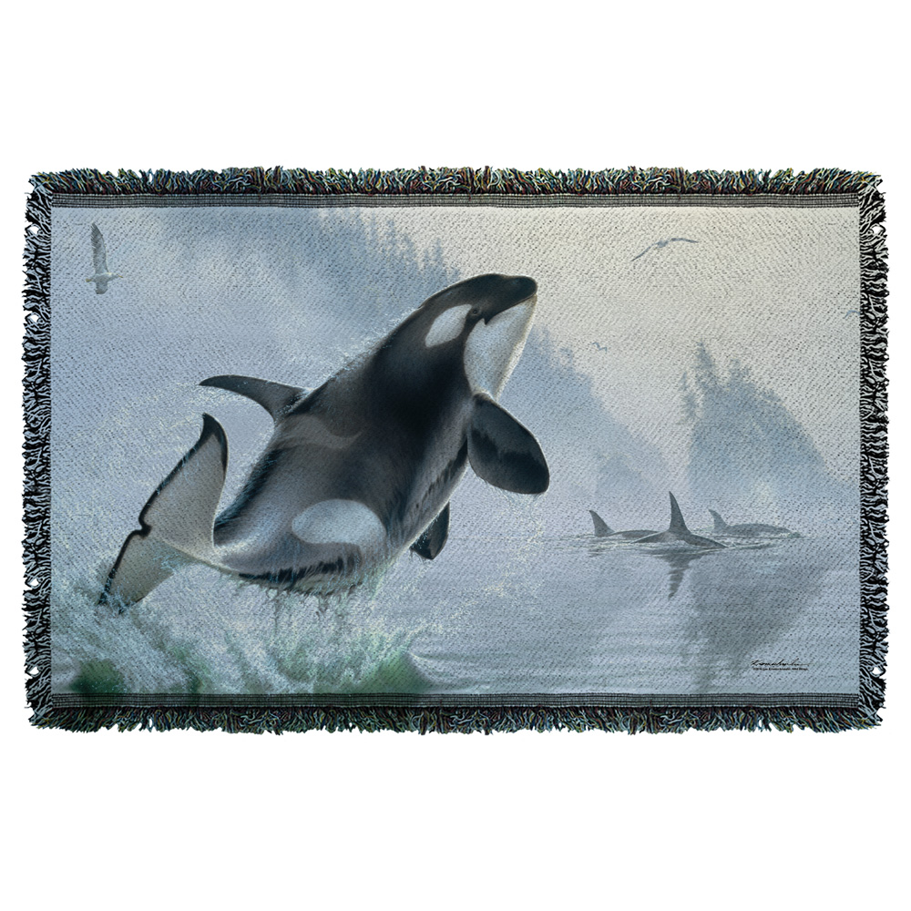 Wild Wings Teeming Waters 2 Woven Throw White 48X80