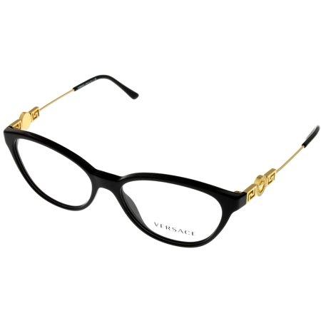 Versace Prescription Eyeswear Frames Womens Cat Eye Black/Gold VE3215 GB1 Size: Lens/ Bridge/ Temple:52- 15- 140- (Versace Eye Glass Frames)