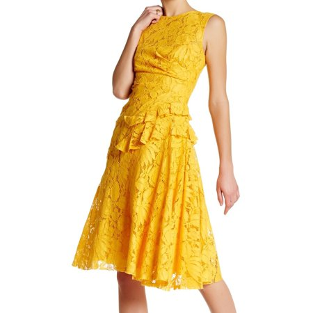 Oscar de la Renta NEW Saffron Yellow Women 2 Lace Ruffle Sheath Dress