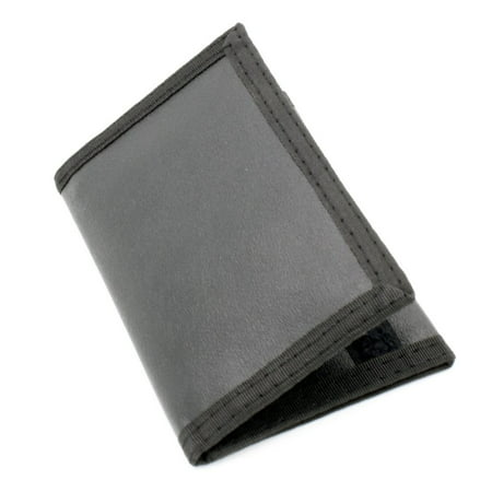 Mens Credit Card Trifold Nylon Wallet Black w/ Touch Fasteners