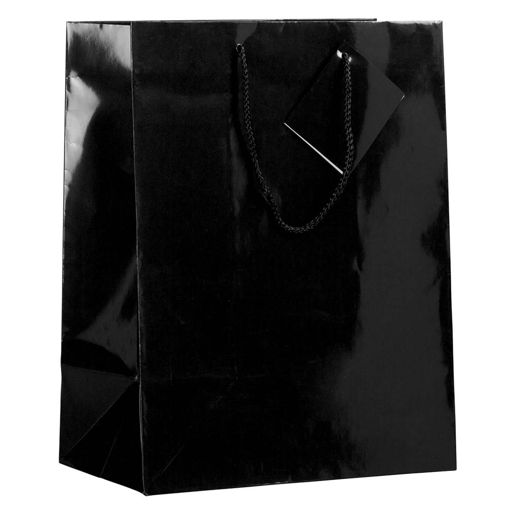 JAM Paper Glossy Gift Bag with Rope Handle, Large, 10 x 5 x 13, Black, Sold Individually
