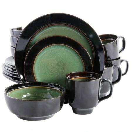 - Bella Galleria 16 pc Reactive Dinnerware Set,Green/Black