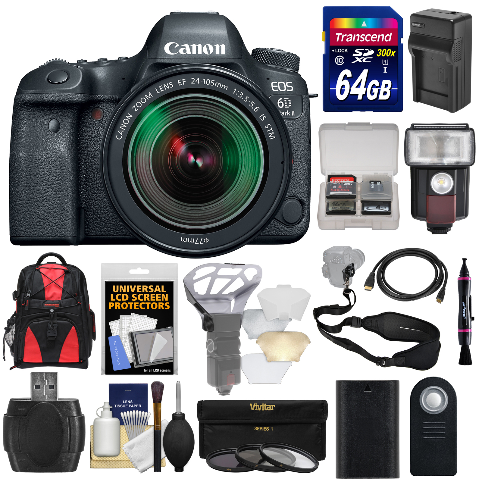 Canon EOS 6D Mark II Wi-Fi Digital SLR Camera & EF 24-105mm IS STM Lens with 64GB Card + Backpack + Flash +... by Canon