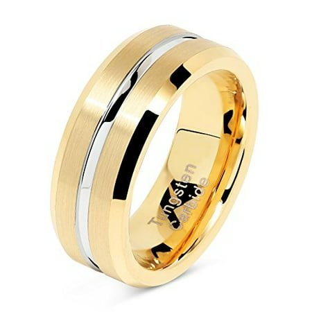 8mm Mens Gold Band (Tungsten Rings for Mens Gold Wedding Bands Silver Grooved Two Tone 8mm Wide Size)